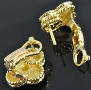 Van Cleef & Arpels 18K Yellow Gold Alhambra Clover Flower Omega Post