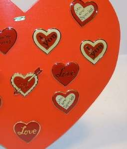 Lot 12 I Love You Hearts Valentine Pins w/Display Stand