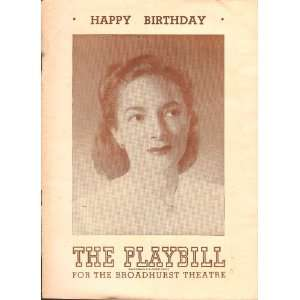 The Playbill for the Broadhurst Theatre Helen Hayes in