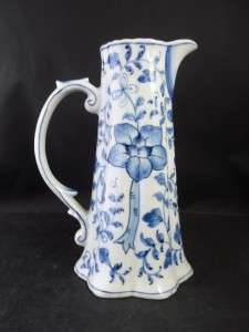 Andrea by Sadek White Blue Flowers Leaves Pitcher 8 Inches Tall