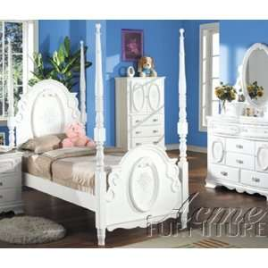Flora White Finish Twin Post Bed by Acme: Home & Kitchen