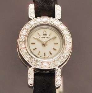 OMEGA 18K SOLID WHITE GOLD DIAMONDS MANUAL BACK WIND LADIES WATCH