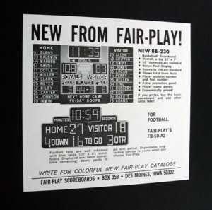 Fair Play Basketball Football Scoreboard 1967 Ad