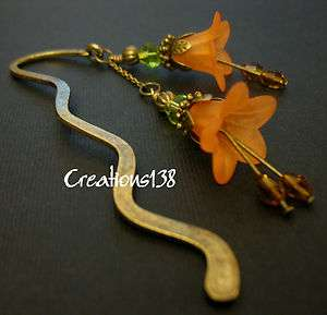 Vintage Style Lucite Flower Crystal Glass Beaded Metal Bookmark Gifts