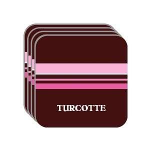 Personal Name Gift   TURCOTTE Set of 4 Mini Mousepad Coasters (pink