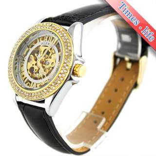 Women Automatic Watch Golden Skeleton Crystal Xmas Gift