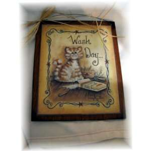 Kitty Cat Wash Day Laundry Room Country Wooden Wall Art