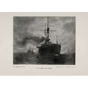 1911 Print Ship War Peace Si vis pacem para bellum Battleship Smoke