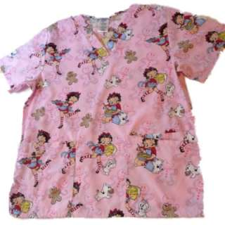 Womens Pink Betty Boop Nurse Smock Medical Scrubs Top Holiday