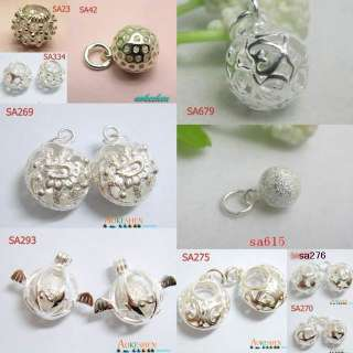925 STERLING SILVER CHARM PENDANTS BEADS VARIOUS BALL FIT EARRINGS