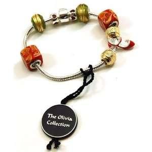 TOC BEADZ Branded Stiletto Shoe Red/Gold Bead Bracelet