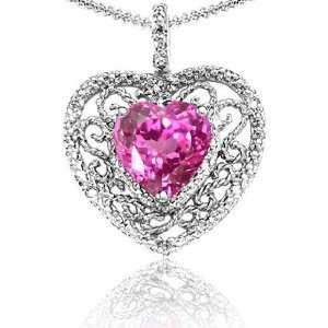 Candygem 10k Gold Lab Created Heart Shaped Pink Topaz and