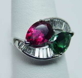 Gem Quality Pink Green Tourmaline 1ct Baguette Diamond Platinum Ring 8