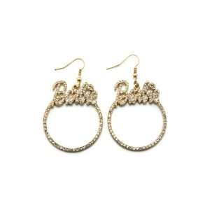 Gold Iced Out Nicki Minaj Barbie Hoop Shaped Earring