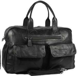 Top Leather Black Luggage Shoulder Duffle Gym Bags Tote