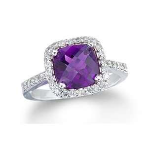 2.40 Ct Amazing Amethyst & Diamond 14K White Gold Ring Jewelry