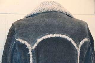 Sz 40 S~M Vtg 70s Mens BLUE DENIM LEATHER SHEARLING RANCH JACKET COAT