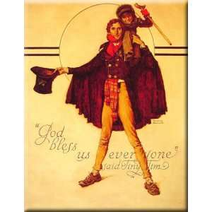 Tiny Tim and Bob Cratchit 12x16 Streched Canvas Art by Rockwell