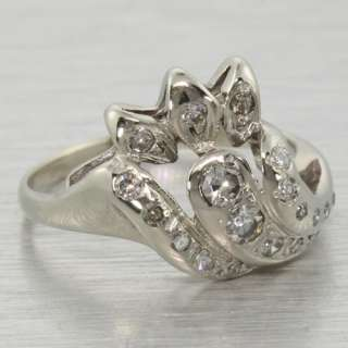 Edwardian 14k White Gold Diamond Floral Fashion Ring
