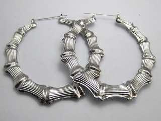 Pairs Big Silver Tone Bamboo Hoop Earrings 89mm (3.5)