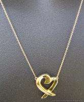 Signed 18k Gold Tiffany & Co. Paloma Picasso Heart Pendant Necklace 18