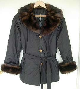 Womens DENNIS BASSO Black Polyester Faux Fur Trimmed Jacket Coat Sz