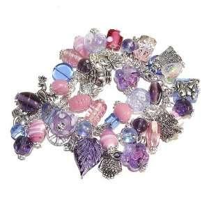 The Black Cat Jewellery Store Tibetan Silver Charm Bracelet w/ Pink