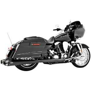 Harley American Outlaw True Dual Black Exhaust System for 2009 2011 FL