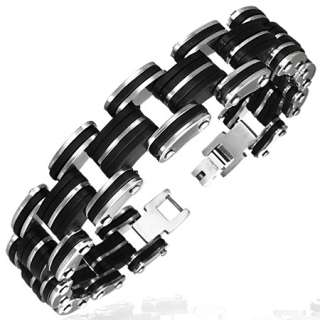 Stainless Steel Two Tone Black and Silver Mens Link Bracelet