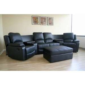 Home Theater 4 Seating Curved Row in Black Interiors Furniture Theater