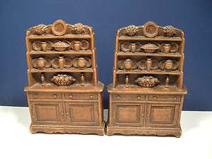 Wood Resin Bookends Book End Cabinet Welsh Cupboard Brown Vintage