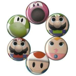 Super Mario Brothers Heroes Buttons Pins Badges