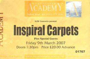 manchester academy 09 march 2007 ticket uk   2007 used ticket f