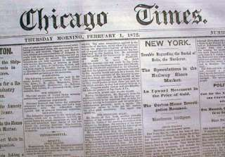 Rare 1872 CHICAGO TIMES newspaper After the Great Fire