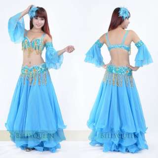 Brand New Sexy Belly Dance 2 Pcs Costume Bra & Belt 2 Colors Red And