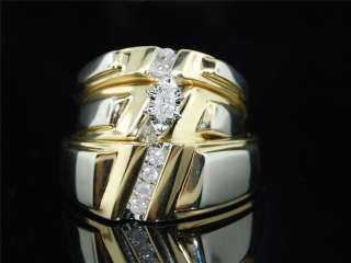 YELLOW GOLD DIAMOND ENGAGEMENT RING MATCHING TRIO 3 SET BAND