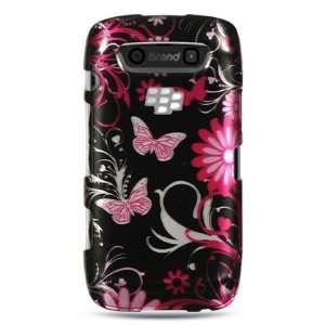 VMG BlackBerry Torch 9850/9860   Black/Pink Butterfly Design Hard 2 Pc