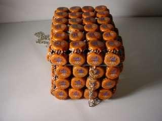 Vintage Fanta Orange Bottle Cap Folk Art Box Purse Kenya Africa