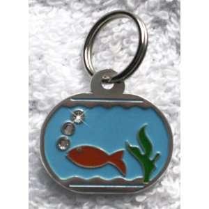 Fish Bowl Charm Crystal Bling Dog Cat Pet Collar ID Tag
