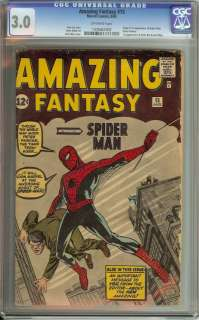 AMAZING FANTASY #15 CGC 3.0 OW PAGES FIRST APPEARANCE OF SPIDER MAN
