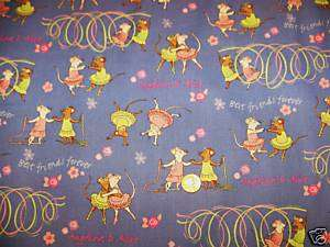 Angelina Ballerina Cotton Fabric Best Friend Forever BL