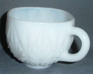 10 MILK GLASS PUNCH CUPS ANCHOR HOCKING VINTAGE SQUARE