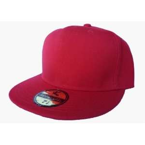 Plain Red Fitted Flat Peak Baseball Cap 6 1/2 Everything