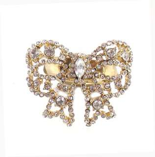 Betsey Johnson Jewelry Iconic Vintage Hearts Crystal Bow Ring