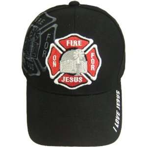 com RED Christian Baseball Cap On Fire for Jesus with Fire Department