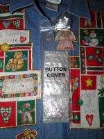 QUACKER FACTORY Shirt Button Covers CHRISTMAS M NEW Denim Appliques