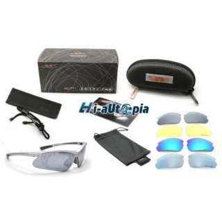 New Silver Bike Bicycle Cycling Sports Riding Sun Glasses Goggles & 5