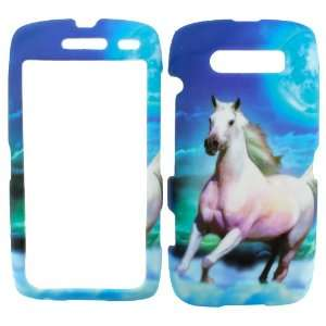 BLACKBERRY TORCH 9850 / 9860 WHITE STALLION HORSE RUBBERIZED COVER