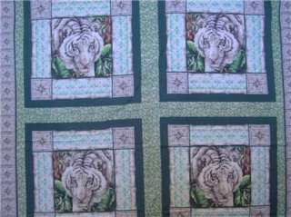 New White Tiger Wild Animal Big Cat Fabric Pillow Panel