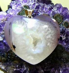 RARE BIG NATURAL HEART DRUZY DRUSY QUARTZ .925 STERLING SILVER PENDANT